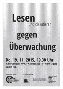 Flyer zu Lesung im Herbst 2015